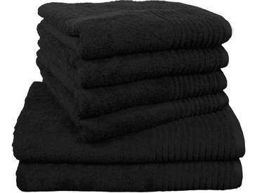 Dyckhoff Handtuch Set, »Brillant«, mit Streifenbordüre, schwarz, 6tlg.-Set A (siehe Artikeltext), schwarz