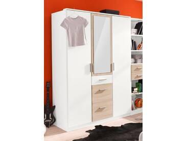 Wimex Kleiderschrank »Joker«, weiß, Breite 135 cm, 3-türig, Mit Spiegel, weiß/struktureichefarben hell