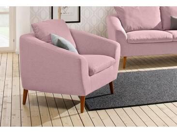 Home affaire Sessel »Amadeo« im skandinavischem Design, lose Rückenkissen, rosa, altrosa