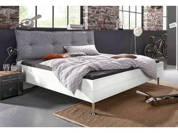 rauch SELECT Bett mit Polsterkopfteil, grau, weiß, weiß/Kopfteil Webstoff grau