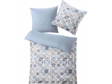 Kleine Wolke Bettwäsche »Mesh«, mit schönen Rautenvariation, blau, 1x 155x220 cm, Mako-Satin, blau