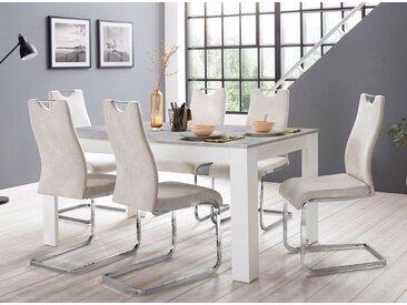 Homexperts »Zabona« Essgruppe (1 Tisch + 4 Stühle), natur, beige