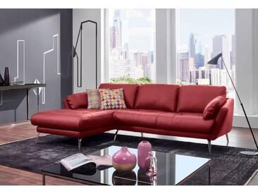 W.SCHILLIG Polsterecke »softy« mit Heftung im Sitz, rot, Recamiere links, ruby red