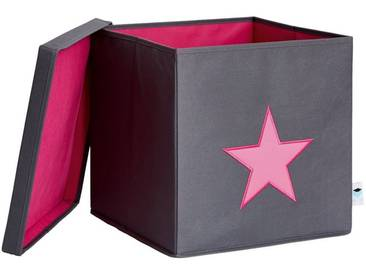 STORE IT! Ordnungsbox mit Deckel (MDF), grau mit pinkem Stern, grau, grau