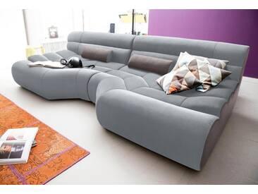 TRENDMANUFAKTUR Big-Sofa, grau, 290 cm, silbergrau/schlamm
