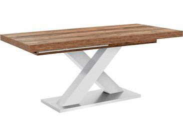 Esstisch »Komfort C«, mit X-Gestell in weiß und mit Auszugsfunktion, Breite 160-260 cm, weiß, weiß-plankeneiche