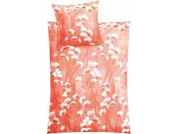 Kleine Wolke Bettwäsche »Pretty«, mit Blumendruck, orange, 1x 155x220 cm, Mako-Satin, orange