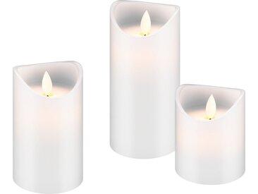 Goobay 3er Set LED Echtwachs »Kerzen, weiß«, weiß, Weiß