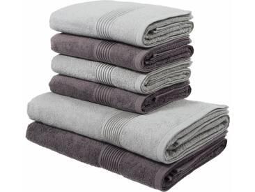 my home Handtuch Set, »Anna«, mit gestreifter Strukturbordüre, grau, 6tlg.-Set (siehe Artikeltext), anthrazit-grau