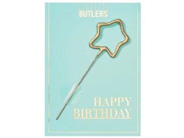 BUTLERS MAGIC MOMENTS »Mini-Grußkarte Happy Birthday mit Wunderkerze«, blau, hellblau