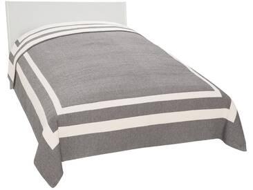 Guido Maria Kretschmer Home&Living Tagesdecke »Logan«, Wende-Design mit Streifenrahmen, grau, Mischgewebe, grau-creme