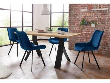Steinhoff Essgruppe »Rose-Bridge«, Tisch - Breite 160 cm + 4 Stühle, blau, eichefarben/Samt dunkelblau