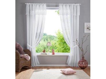 Home affaire Gardine »Janina«, Stangendurchzug (1 Stück), mit doppellagiger Bordüre, weiß, Stangendurchzug, transparent, weiß
