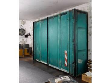 Express Solutions Schwebetürenschrank, grün, Breite 150 cm, 2-türig, Container-Optik, grün