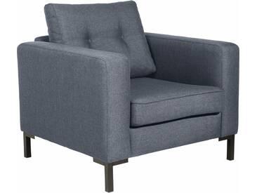 Max Winzer® Sessel »Timber« mit dekorativen Knöpfen, inklusive Zierkissen, blau, denim