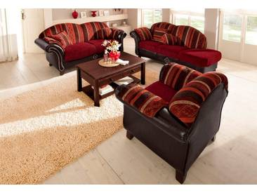 Home affaire Polstergarnitur »Colombo«, 3-Sitzer und Recamiere, mit Federkern, rot, Armlehne rechts, bordeaux