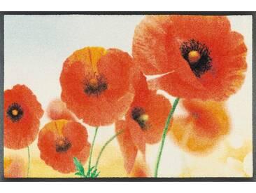 wash+dry by Kleen-Tex Fußmatte »Sunny Poppy«, rechteckig, Höhe 7 mm, orange, 7 mm, rot-orange