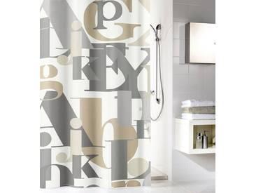 Kleine Wolke KLEINE WOLKE Duschvorhang »Letter«, Breite 180 cm, weiß, braun/grau/weiß