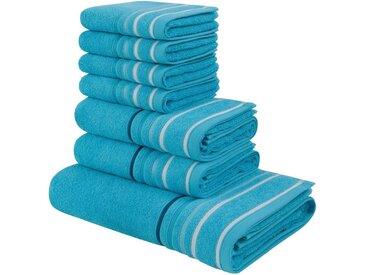 my home Handtuch Set »Niki« (Set, 7-tlg), mit Streifenbordüren (7tlg.-Set), blau, türkis