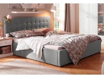 Home affaire Polsterbett »Hamar«, mit Knopfheftung, in 3 Größen und 2 Farben, grau, ohne Matratze kein Härtegrad, grau