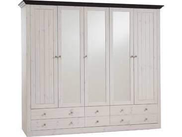 Home affaire , Kleiderschrank »Skanderborg«, weiß, 5-türig (Breite 228 cm), ohne Aufbauservice, ohne Aufbauservice, weiß/kolonial