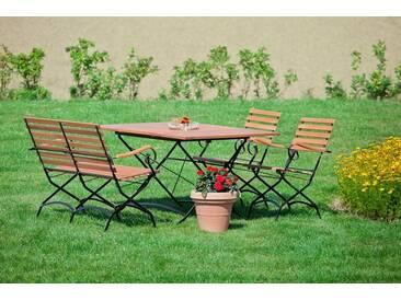 MERXX Gartenmöbelset »Schloßgarten«, 4tlg., 2 Sessel, Bank, Tisch, klappbar, ausziehbar, natur, natur