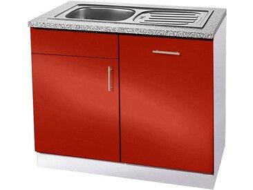 wiho Küchen Spülenschrank »Kiel« 110 cm breit, inkl. Tür/Griff/Sockel für Geschirrspüler, rot, Burgund/Hellgrau