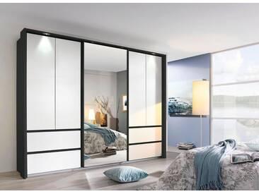 rauch PACK´S Dreh-/Schwebetürenschrank »Wetzlar«, mit Spiegel, Breite 270 cm, 5-türig, graumetallic/weiß