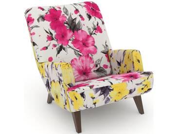 Max Winzer® build-a-chair Loungesessel »Borano« im Retrolook, zum Selbstgestalten, rosa, Korpus: Microvelours Blüte gelb, Microvelours Blüte pink