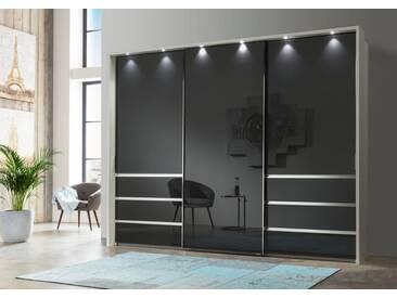 WIEMANN Schwebetürenschrank »Malibu«, mit Glasfront, weiß, Breite 250 cm, Höhe 217 cm, weiß/Graphitglas