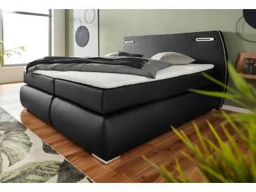 INOSIGN Boxspringbett »Black&White«, auch in Übergröße 200/220 cm, incl. LED-Beleuchtung im Kopfteil, schwarz, H4, schwarz