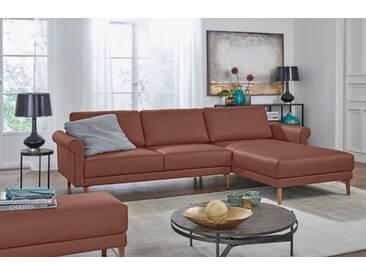 Hülsta Sofa hülsta sofa Polsterecke »hs.450« im modernen Landhausstil, Breite 282 cm, braun, Recamiere rechts, signalbraun