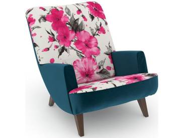 Max Winzer® build-a-chair Loungesessel »Borano« im Retrolook, zum Selbstgestalten, rosa, Korpus: Samtvelours petrol, Microvelours Blüte pink