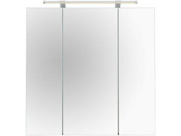 Schildmeyer Spiegelschrank »Dorina« mit LED-Beleuchtung und Glaseinlegeböden, grau, matt, weiß Glanz