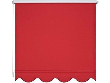 Liedeco Seitenzugrollo, verdunkelnd, mit Bohren, Volantrollo - Volant Klassik, Fixmaß, rot, rot
