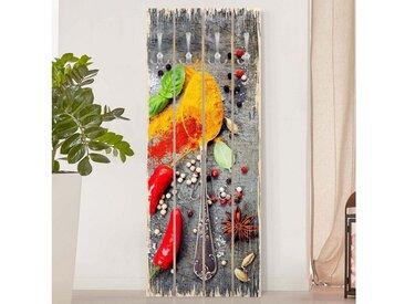 Bilderwelten Wandgarderobe Holz »Top Garderoben Küche in Palettenoptik«, bunt, Motiv: Löffel mit Gewürzen, Haken chrom, Farbig