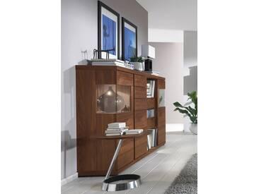VENJAKOB Highboard »v-plus«, Dekokästen rechts, mit beidseitiger Seitenverglasung, Breite 200 cm, braun, ohne Spiegelrückwand, Nussbaum