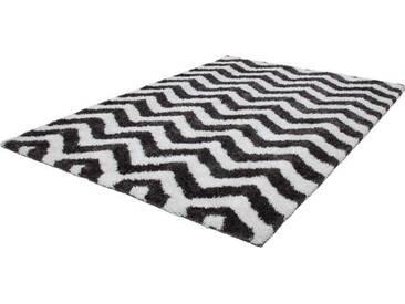 LALEE Hochflor-Teppich »Grace 801«, rechteckig, Höhe 40 mm, Besonders weich durch Microfaser, grau, 40 mm, elfenbeinfarben