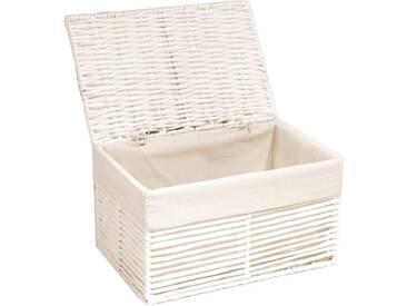 Franz Müller Flechtwaren Aufbewahrungsbox, mit Deckel, weiß, 30x20x17 cm, weiß