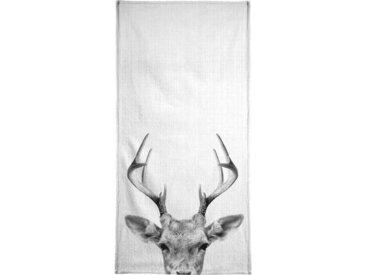 Juniqe Handtuch »Print 38«, Weiche Frottee-Veloursqualität, weiß, Frotteevelours, schwarz-weiß