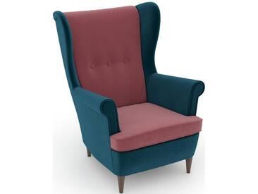 Max Winzer® build-a-chair Ohrensessel »Casimir« im Winchester-Look, zum Selbstgestalten, rosa, Korpus: Samtvelours petrol, Samtvelours rosé