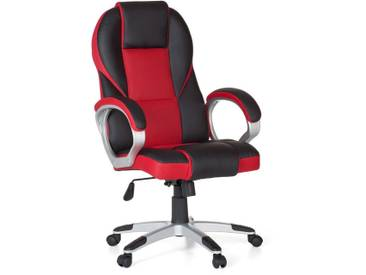 Amstyle Chefsessel »Racer«, mit gepolsterten Armlehnen, rot, schwarz/rot