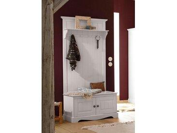 Home affaire Kompaktgarderobe »Melissa«, aus massiver Kiefer, mit geschwungener Sockelleiste , Breite 85 cm, weiß, weiß