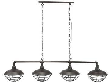 SalesFever Hängelampe Industrierohr 4 Lampenschirme mit Gitter »Maxwell«, silberfarben, Alt-Silber