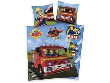 Feuerwehrmann Sam Kinderbettwäsche »Sam im Einsatz«, mit Feuerwehrauto und Hubschrauber, bunt, 1x 135x200 cm, Renforcé, multi