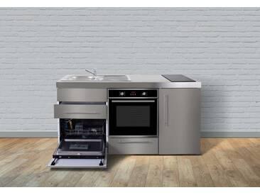 Stengel Metall-Miniküche Premiumline MPBGS 170, Kühlschrank, Backofen, Geschirrspüler, 2er Glaskeramik-Kochfeld, Spülbecken, Breite 170 cm, edelstahl