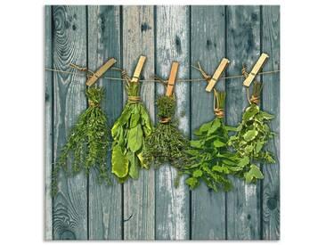 Artland Küchenrückwände »Team 5: Kräuter mit Holzoptik«, grün, 60x60 cm, Grün