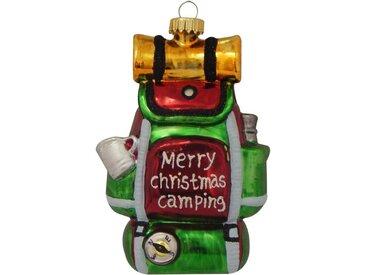 Krebs Glas Lauscha Christbaumschmuck »Camping-Rucksack frohe Weihnachten« (1-tlg), mundgeblasen