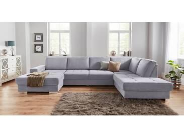 sit&more Wohnlandschaft, mit Federkern und Sitztiefenverstellung, grau, 340 cm, Recamiere links, anthrazit