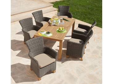 MERXX Gartenmöbelset »Toskana«, 13-tlg., 6 Sessel, Tisch 185x90cm, Polyrattan/Akazie, braun, hellbraun